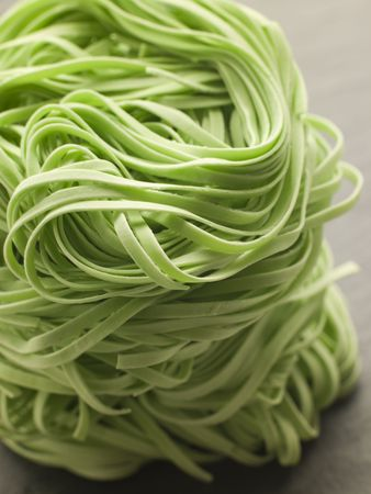 cutouts: Stack of Spinach Noodles Stock Photo
