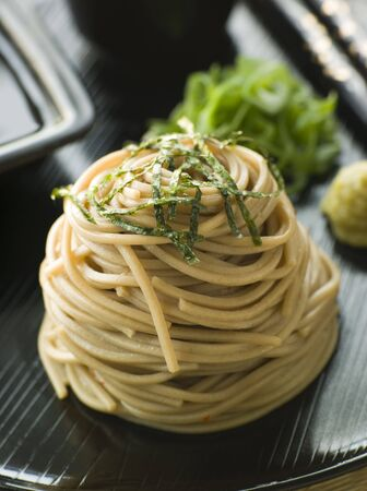 soba noodles: Chilled Soba Noodles With Wasabi and Soy Sauce Stock Photo