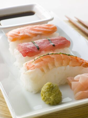 japanes: Hand Molded Seafood Sushi Wasabi Soy Sauce and Sushi ginger