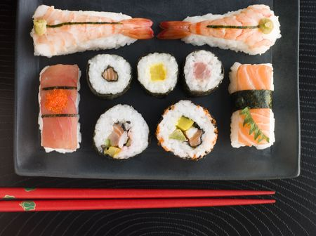 Selection of Seafood And Vegetable Sushi With Chopsticks (Overhead) Stock Photo - 3131652
