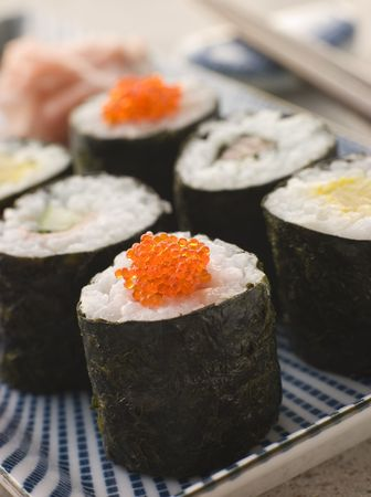 Small Rolled Sushi on a Plate Stock Photo - 3131386