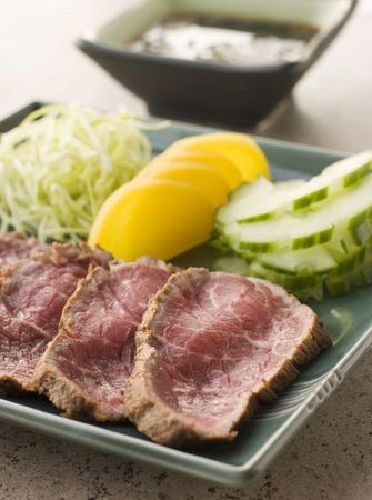seared: Seared Beef Fillet with Ponzo Sauce Stock Photo