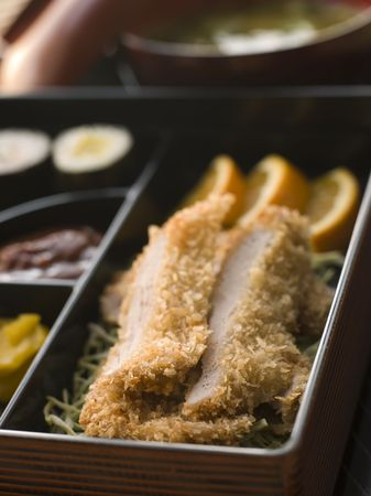 Tonkatsu Plated with Rice Miso Soup and Pickles Stock Photo - 3131385