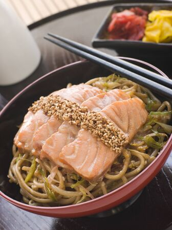 Sesame Crusted Salmon Fried Noodles and Pickles Stock Photo - 3131538