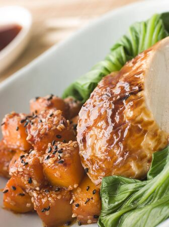 butternut: Soy Roasted Chicken on Steamed Pac Choi with Teriyaki Roasted butternut Squash