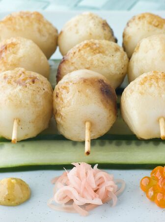 Fish Ball Skewers With Cucumber Salad Stock Photo - 3131399