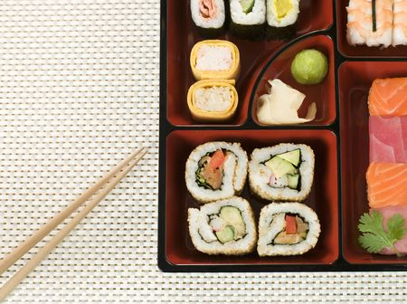 Selection of Sushi In a Bento Box Stock Photo - 3131633