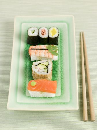 Plated Sushi with Chopsticks Stock Photo - 3131618