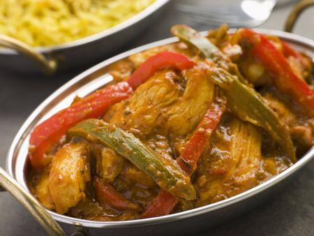 indian cookery: Chicken Jalfrezi Restaurant Style Stock Photo