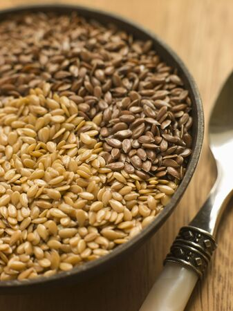 linseed: Dish of Golden and Brown Linseed Stock Photo