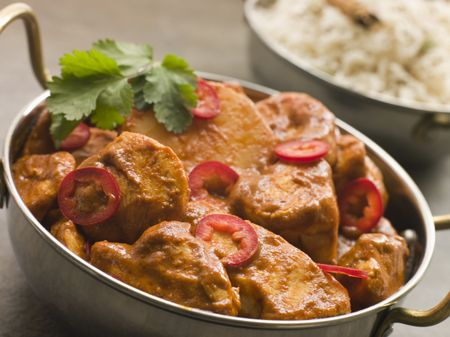 Chicken Chili Tikka Masala with Fragrant Basmati Rice Stock Photo - 3131499