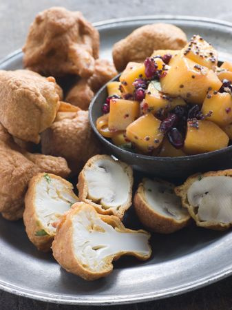 Pakoras- Mushroom and Cauliflower with Mango Mustard and Pomegranate Salad photo