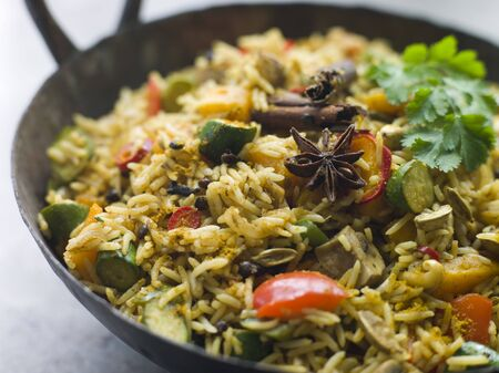 indian cookery: Vegetable Biryani in a Large Karahi