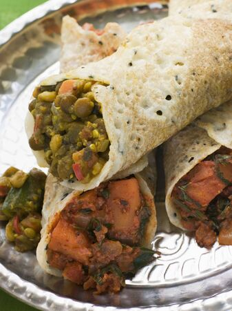 Dosa Stuffed with Aloo Masala and Sambhar Stock Photo - 3131780