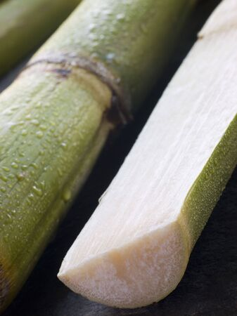 sugar palm: Fresh Sugar Cane Split in Half Stock Photo