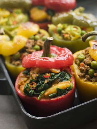 Bell Peppers stuffed with Keema Sag Aloo and Vegetable Pilau Stock Photo - 3131768
