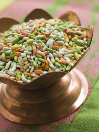 sugared: Dish of Sugared Fennel Seeds Stock Photo