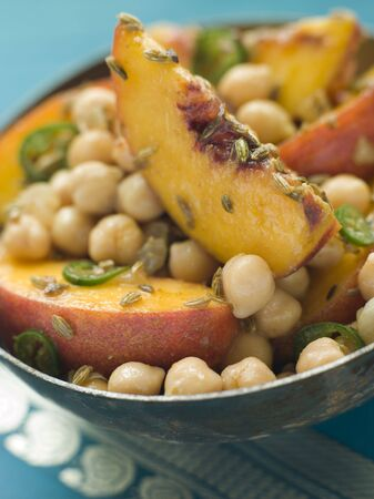 Bowl of Chick Pea and Peach Salad Stock Photo - 3132328