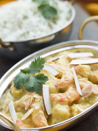 Tiger Prawn Korma Restaurant Style with Basmati Rice Stock Photo - 3133756