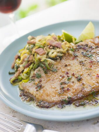 Skate Wing with Sherry Vinegar and Leeks photo