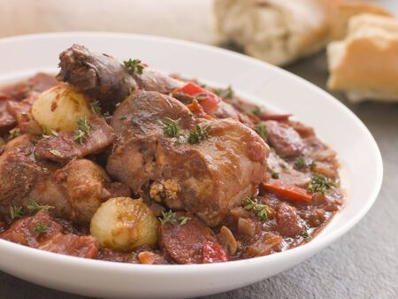 chorizos: Rabbit Bread Chorizo Stew with Button Onions