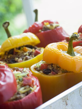 spiced: Bell Peppers stuffed with Spiced Rice and Dried Fruits Stock Photo