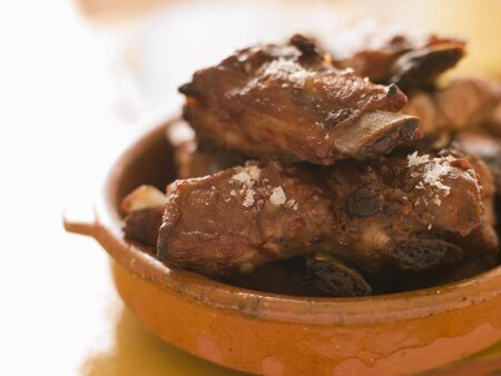 barbecued: Barbecued Mini Pork Ribs Stock Photo