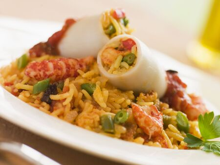 Squid Stuffed with Saffron and Seafood Rice photo