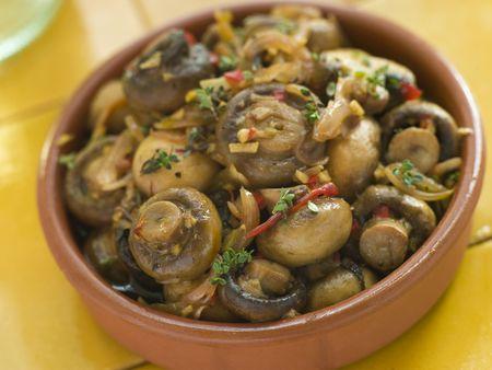 noone: Garlic and Chilli Marinated Mushrooms