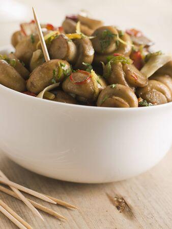 marinated: Championes al Ajillo- Chilli marinated Mushrooms