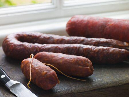 chorizos: Selection of Spanish Sausages Stock Photo
