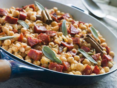 chorizos: Chickpeas Chorizo Sausage and Sage Stock Photo