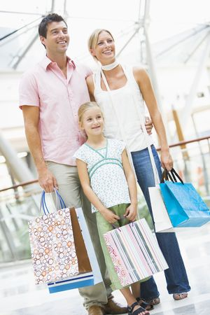 clothe: Mother and father with young daughter at a shopping mall