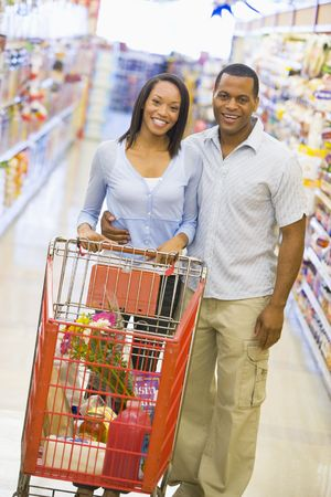 Young couple shopping at a grocery store
