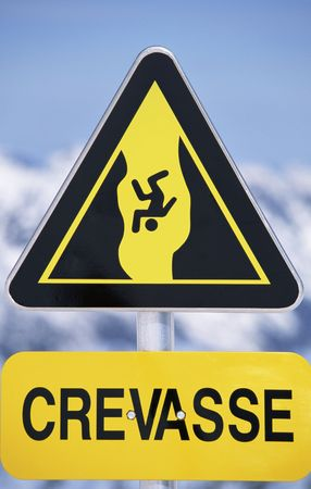 crevasse: Crevasse sign on snowy mountain (selective focus) Stock Photo
