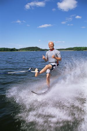 water skier: Man water skiing