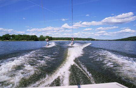 water skiing: 2 people water skiing Stock Photo