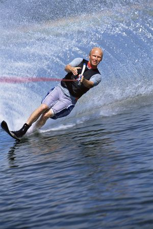 Man waterskiing photo