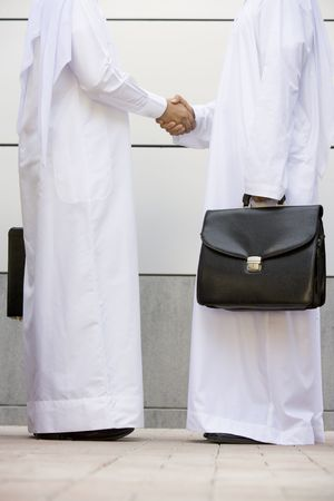 kanduras: Two businessmen standing outdoors with briefcases shaking hands
