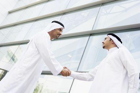 poign�es de main: Deux hommes d'affaires en construisant en plein air une poign�e de main