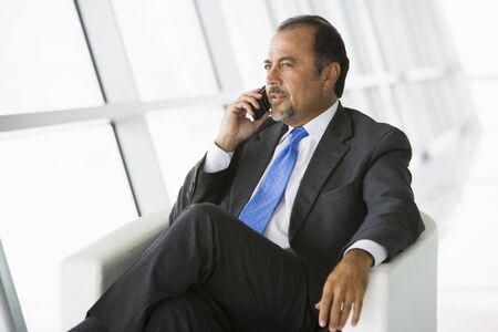 windowpanes: Businessman sitting indoors on cellular phone (high keyselective focus)