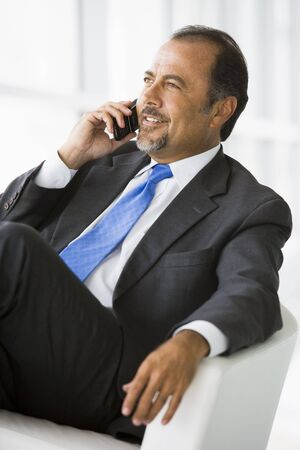 windowpanes: Businessman sitting indoors on cellular phone smiling (high keyselective focus)