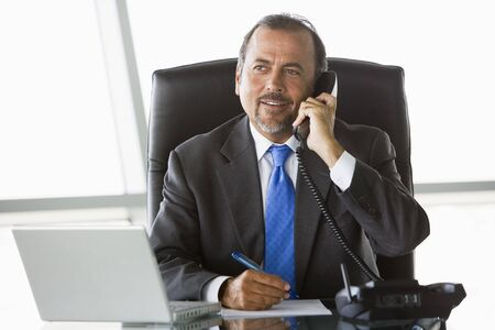 windowpanes: Businessman in office on telephone by laptop smiling (high keyselective focus)