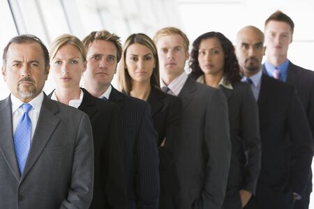 caucasoid race: Group of co-workers standing in office space smiling (high keydepth of field)