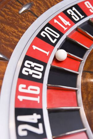 gambling parlour: Roulette game wheel (close up) Stock Photo