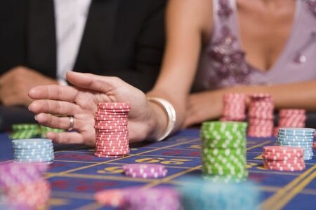 gambling parlors: Chips on Roulette Table
