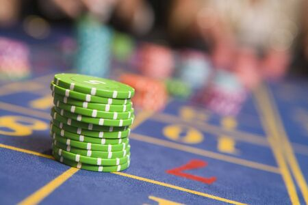 offset angles: Roulette table with chips on it (selective focus) Stock Photo