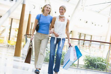 shopping trip: Two women at a shopping mall