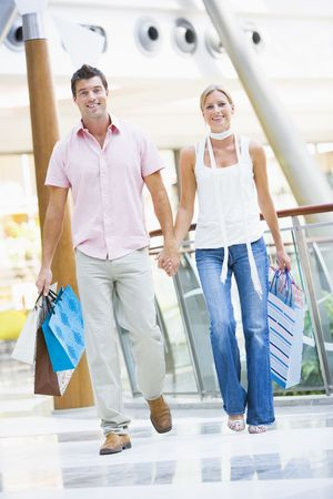 Young couple at a shopping mall photo