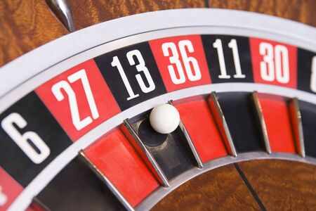 gambling parlors: Roulette game wheel (close up) Stock Photo